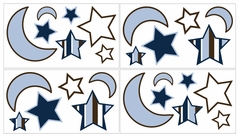 Starry Night Baby and Kids Stars and Moons Wall Decal Stickers - Set of 4 Sheets