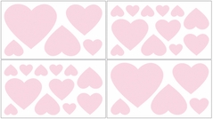 Pink Hearts Baby and Kids Wall Decal Stickers for Chenille Bedding - Set of 4 Sheets