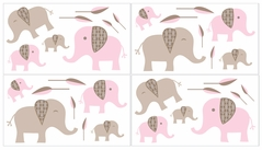 Pink and Taupe Mod Elephant Baby and Kids Wall Decal Stickers by Sweet Jojo Designs - Set of 4 Sheets
