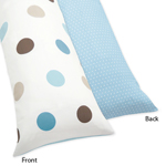 Blue and Brown Mod Dots Full Length Double Zippered Body Pillow Case Cover by Sweet Jojo Designs