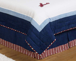 Vintage Aviator Queen Kids Childrens Bed Skirt by Sweet Jojo Designs