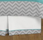 Turquoise and Gray Chevron Zig Zag Queen Bed Skirt for Childrens Teens Bedding Sets by Sweet Jojo Designs