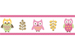 Pink Happy Owl Baby and Kids Wall Paper Border by Sweet Jojo Designs