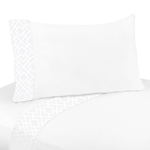 3 pc Twin Sheet Set for White Diamond Jacquard Modern Bedding Collection by Sweet Jojo Designs