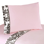 3 pc Twin Sheet Set for Pink and Black Sophia Bedding Collection