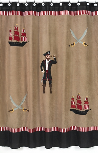 Treasure Cove Pirate Kids Bathroom Fabric Bath Shower Curtain - Click to enlarge