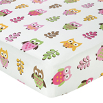 Pink Happy Owl Fitted Crib Sheet for Baby/Toddler Bedding by Sweet Jojo Designs - Owl Print