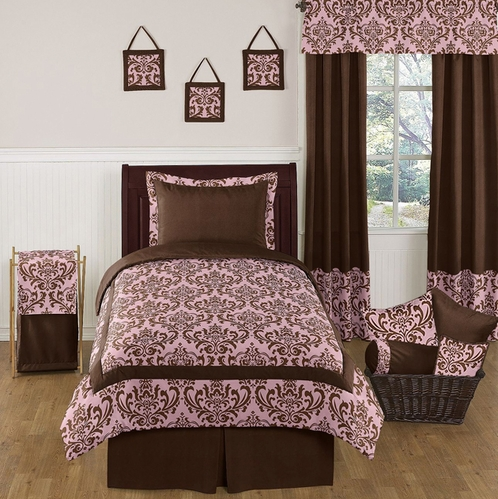 pink and chocolate nicole childrens and teen bedding set 4 pc twin