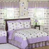 Purple and Brown Modern Dots Childrens  Bedding - 4 pc Twin Set