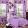 Purple Groovy Peace Sign Tie Dye Children's Bedding - 4 pc Twin Set