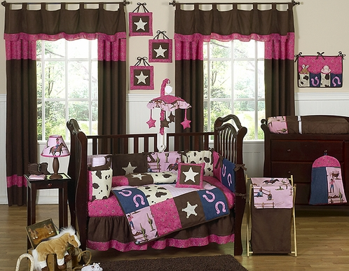 Western Horse Cowgirl Baby Bedding - 9 pc Crib Set - Click to enlarge