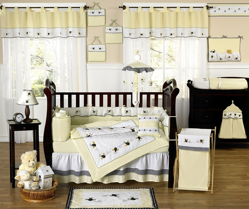 Designer Unique Bumble Bee Baby Bedding - 9 pc Crib Set - Click to enlarge