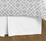 Gray and White Diamond Collection Bed Skirt - Solid White - Queen Size