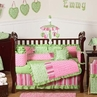 Olivia Girls Boutique Pink and Green Baby Bedding - 9pc Crib Set by Sweet Jojo Designs
