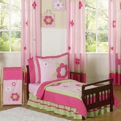 Pink and Green Flower Toddler Bedding - 5pc Set