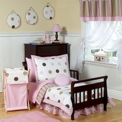 Pink and Brown Modern Polka Dots Toddler Bedding - 5pc set