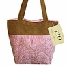 Pink and Chocolate Paisley Microsuede Handbag/Tote Bag