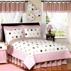 Pink and Brown Modern Dots Childrens  Bedding - 4 pc Twin Set