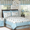 Blue and Brown Modern Polka Dots Childrens Bedding -  4 pc Twin Set