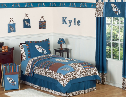 Tropical Hawaiian Kids Bedding - 4pc Boys Surf Twin Set - Click to enlarge