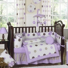 Purple and Brown Modern Polka Dot Baby Bedding - 9 pc Crib Set