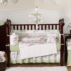 Riley's Roses Floral Baby Bedding - 9 pc Crib Set