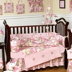 Khaki and Pink Camo Baby Bedding - 9pc Crib Set