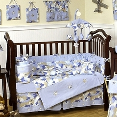 Khaki and Blue Camo Baby Bedding -  9pc Crib Set