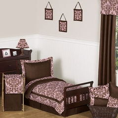 Pink and Chocolate Nicole Girl Toddler Bedding - 5pc Set by Sweet Jojo Designs