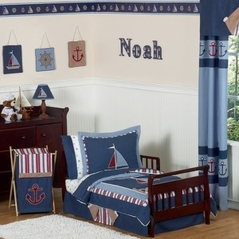 Nautical Nights Boys Sailboat Toddler Bedding - 5 pc Set