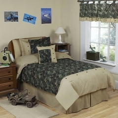 Army Green Camo Childrens Bedding - 4 pc Twin Set