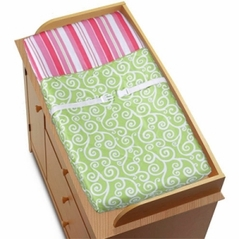 Olivia Pink and Green Girls Baby Changing Pad Cover