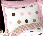Pink and Brown Mod Dots Pillow Sham
