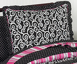 Pink and Black Madison Girls Pillow Sham