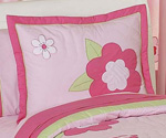 Pink and Green Flower Pillow Sham