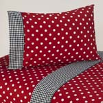 3 pc Twin Sheet Set for Red and White Polka Dot Ladybug Bedding Collection