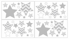 Baby and Kids Wall Decal Stickers for Yellow and Gray Chevron Zig Zag Bedding by Sweet Jojo Designs - Set of 4 Sheets