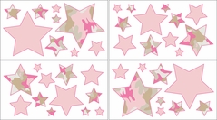 Pink and Khaki Camo Army Camouflage Baby, Kids and Teens Wall Decal Stickers - Set of 4 Sheets