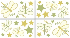 Green Dragonfly Dreams Baby, Childrens and Teens Wall Decal Stickers - Set of 4 Sheets