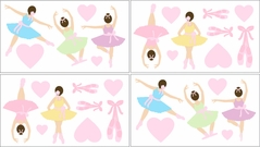 Ballet Dancer Ballerina Baby and Kids Wall Decal Stickers - Set of 4 Sheets