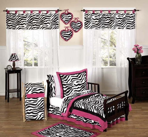 Funky Zebra and Hot Pink Toddler Bedding - 5pc Set - Click to enlarge