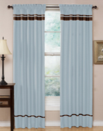 Blue and Chocolate Spa Collection Window Treatment - Set of 2