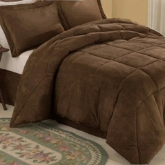 Chocolate Microsuede Down Comforter Alternative 4pc Bedding