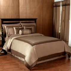 Taupe and Chocolate Hotel Spa Collection Duvet Cover 6-pc Bedding Set