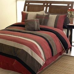 Brick Red, Black, Chocolate and Camel Jacaranda Striped MicroSuede 6-pc Luxury Duvet Cover Bedding Set