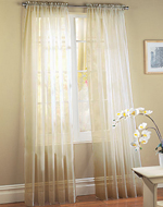 Ivory Sheer Voile Window Panel Coverings - Set of 2