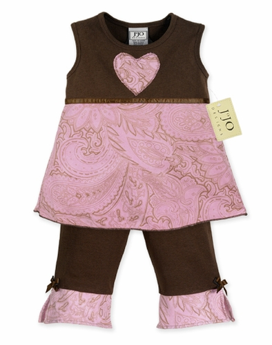 Pink and Brown Paisley 2pc Baby Girls Boutique Outfit - Click to enlarge