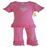 2pc Crystal Heart Capri Outfit by Sweet Jojo Designs