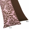 Pink and Chocolate Nicole Full Length Double Zippered Body Pillow Case Cover by Sweet Jojo Designs