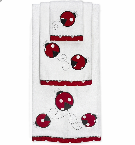 Polka Dot Ladybug Baby And Kids Cotton Bath Towel Set